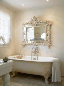 White Bathroom with Stand-Alone Bath