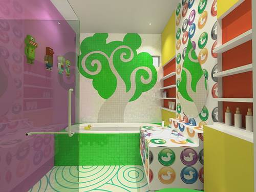 A Colorful Design for Kids' Bathroom Decor