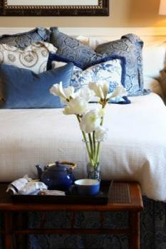 Blue Cushions in Bedroom