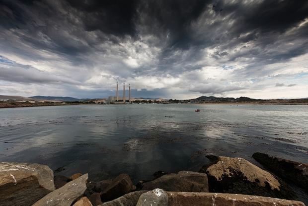 Morro Bay Harbor showing the three Òsmoke stacksÓ of the local D