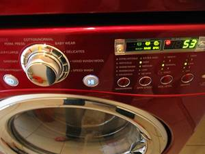 Red Colored Washer in Use