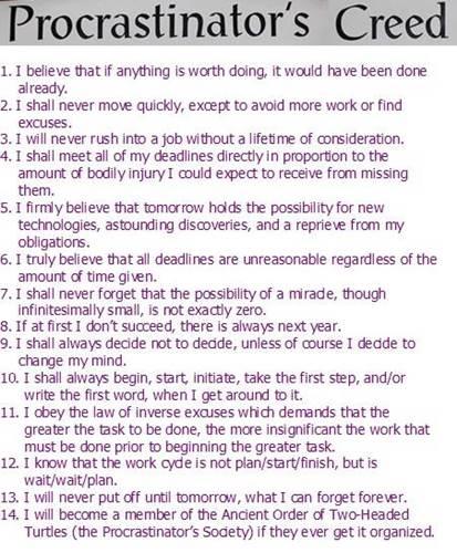 Procrastinator's Creed Poster
