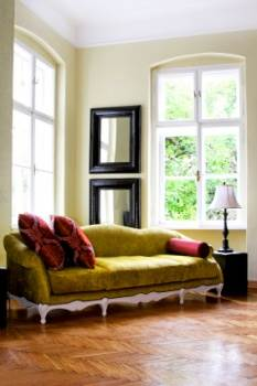 Rustic Room Interior - Green Sofa in a Country Home Living Room